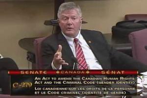 Conservative Senator Don Plett speaking on Wednesday.