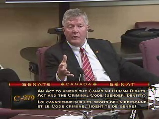 Conservative Senator Don Plett speaking on Wednesday.